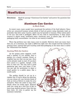 Grade 7 Common Core Reading: Informational Text -- Aluminum-Can Garden