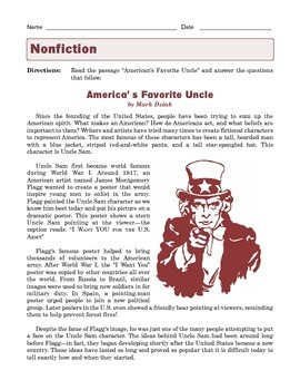 Grade 7 Common Core Reading: Informational Text -- America's Favorite Uncle