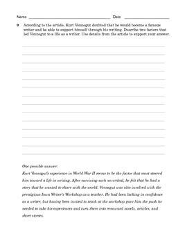 Grade 7 Common Core Reading: Informational Text -- Kurt Vonnegut
