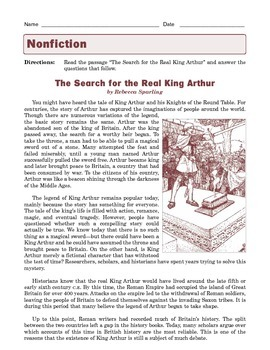 Grade 7 Common Core Reading: Informational Text -- The Search for King Arthur