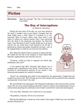 Grade 7 Common Core Reading: Literature -- The Day of Interruptions