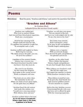 "Grade 7 Common Core Reading: Poetry - ""Arachne and Athena"" by Lindsay Rock"