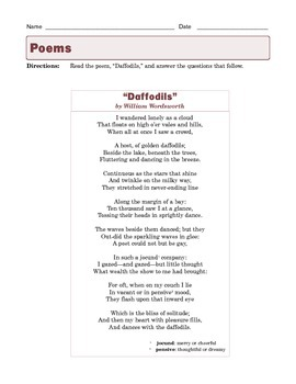 "Grade 7 Common Core Reading: Poetry - ""Daffodils"" by William Wordsworth"