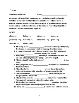 Grade 7 Content Vocabulary 20 Week Unit Lessons, Activities, Quizzes & Writing