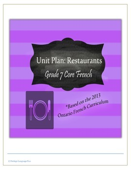 Grade 7 Core French Unit Plan: Restaurants