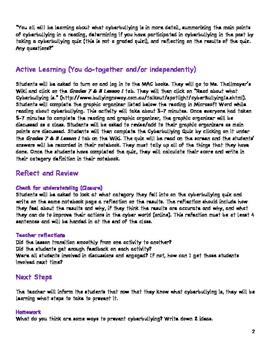 Grade 7 Cyberbullying Unit Lesson 1