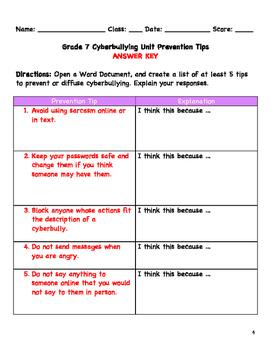 Grade 7 Cyberbullying Unit Lesson 2