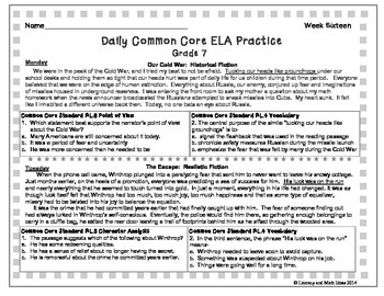 Grade 7 Daily Common Core Reading Practice Week 16 {LMI}
