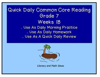 Grade 7 Daily Common Core Reading Practice Week 18 {LMI}