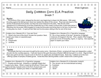 Grade 7 Daily Common Core Reading Practice Week 18 {LMI}