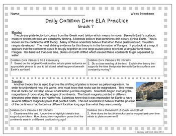 Grade 7 Daily Common Core Reading Practice Week 19 {LMI}