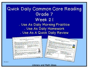 Grade 7 Daily Common Core Reading Practice Week 21 {LMI}
