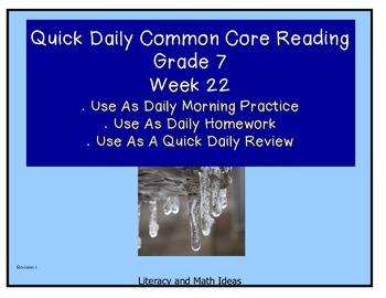 Grade 7 Daily Common Core Reading Practice Week 22 {LMI}
