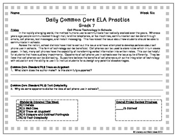 Grade 7 Daily Common Core Reading Practice Week 6 {LMI}