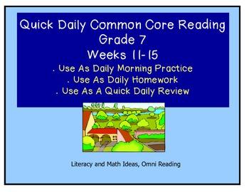 Grade 7 Daily Common Core Reading Practice Weeks 11-15 {LMI}