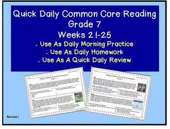 Grade 7 Daily Common Core Reading Practice Weeks 21-25