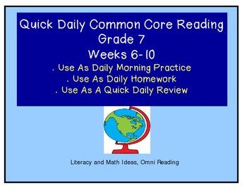 Grade 7 Daily Common Core Reading Practice Weeks 6-10 {LMI}
