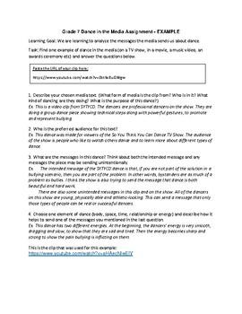 Grade 7 Dance and Media Literacy Written Assignment