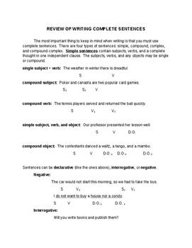 Grade 7 ELA and ESL Sentence Types: Simple, Compound, Complex, Compound-Complex