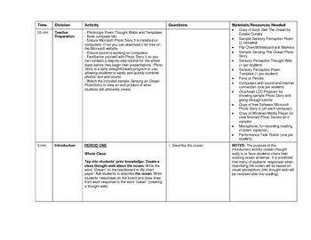 Grade 7 English LA/Technology Lesson Plan on Sensory Perception Poetry