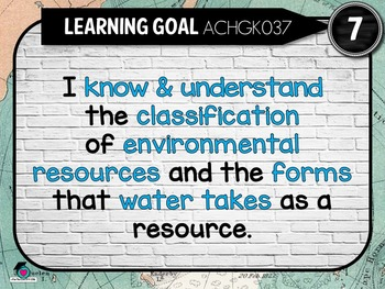 Grade 7 Geography – Aus curric Learning Goals & Success Criteria Posters