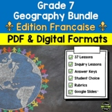 Grade 7 Geography Units Ontario Curriculum French Edition Bundle