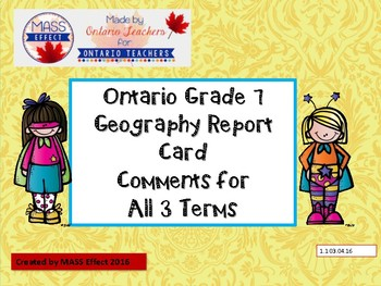 Grade 7 Geography Report Card Comments, ALL 3 TERMS! - Ont