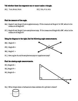 Grade 7 Geometry Review Common Core