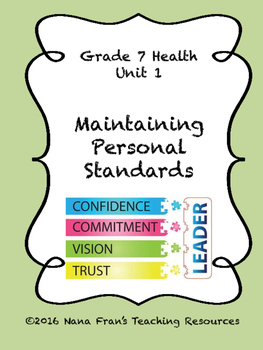 Grade 7 Health Unit 1 - Maintaining Personal Standards and