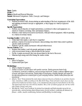 Grade 7 Health and Physical Education - Zumba Lesson Plan