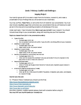 Grade 7 History: Conflict and Challenges Inquiry Project