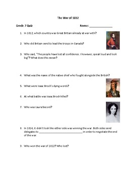 Grade 7 History War Of 1812 Quiz