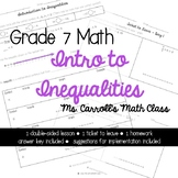 Grade 7 Math Intro to Inequalities Day 1