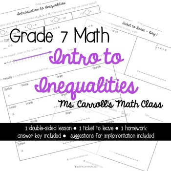 Grade 7 Math Intro to Inequalities Day 1