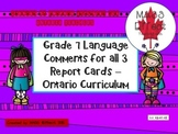 Grade 7 Language Report Card Comments for all 3 Terms