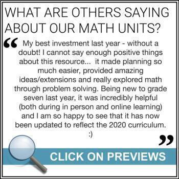 Math Unit BUNDLE: Entire Year of Math (Grade 7) Ontario (3 part lessons)