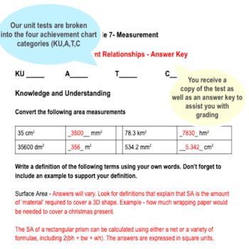 Measurement Unit Test and Study Guide - Grade 7 Math Assessment