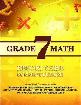 Grade 7 Math Comment Builder
