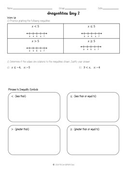 Grade 7 Math Inequalities Day 2
