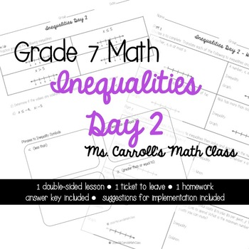 Grade 7 Math Inequalities Day 2