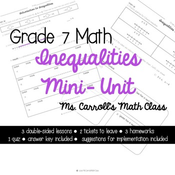 Grade 7 Math Inequalities Mini Unit
