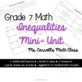 Grade 7 Math Inequalities - Mini Unit