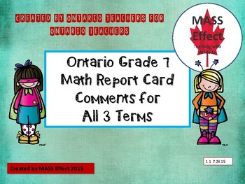 Grade 7 Math Ontario Report Card Comments - All TERMS