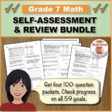 Grade 7 Math Self-Assessment and Review BUNDLE, Forms A-D