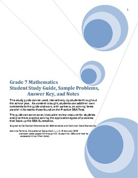 Grade 7 Math Student Study Guide and Sample Problems