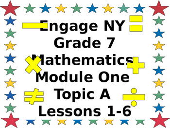 Eureka CCMS Grade 7 Mathematics Module 1, Topic A, Lessons 1-6ppt