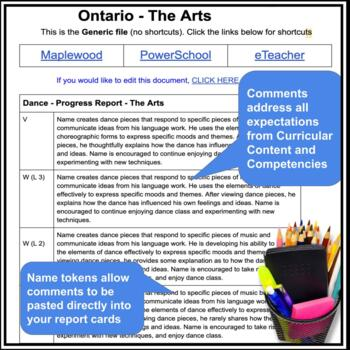 Grade 7 - Middle School - THE ARTS - Report Card Comment Bank