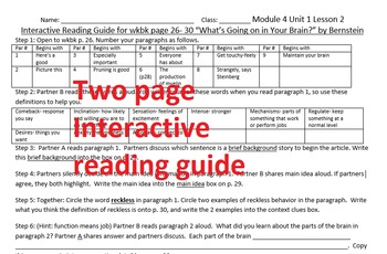 Grade 7 Module 4A U1 L2 smart board notes w/original interactive reading guide