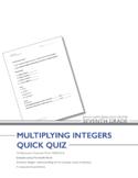 Grade 7 Multiplying Integers Quiz