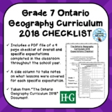 Grade 7 ONTARIO GEOGRAPHY CURRICULUM 2018 EXPECTATIONS CHECKLIST